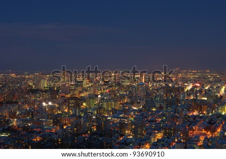 SAPPORO - JAN. 26 : Aerial view of downtown Sapporo city at night on January 26, 2012 in Sapporo, Hokkaido, japan.  Looking out at the view from the top of Mt.Maruyama located in Chuo-ku, Sapporo.