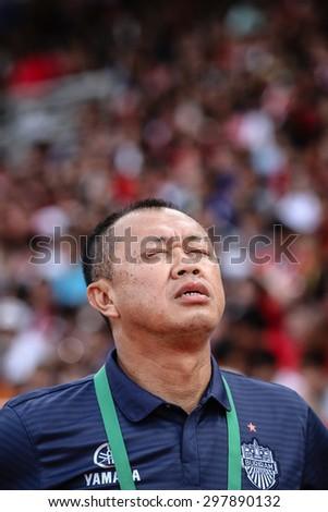 SARABURI THAILAND- JULY18:Buriram United club president Newin Chidchob during Thai Premier League between Saraburi Fc and Buriram United at Saraburi Stadium on July18,2015 in Saraburi Thailand - stock photo