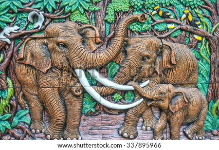 Saraburi Thailand - Nov. 03, 2015 - Wood carving of elephant family. - stock photo
