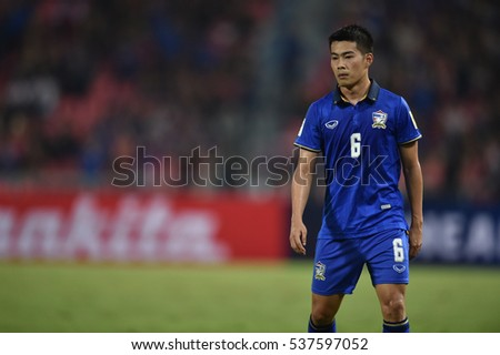 Sarach Yooyen of Thailand in action during the 2018 World Cup Qualifiers match between Thailand and Australia at Rajamangala Stadium on September 15, 2016 in Bangkok, Thailand