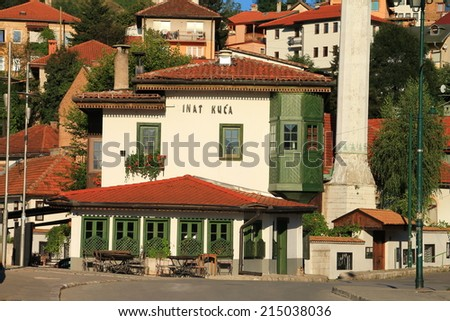 SARAJEVO-BOSNIA AND HERZEGOVINA - AUGUST 28,2014 : Famous House of spite in old part of Sarajevo