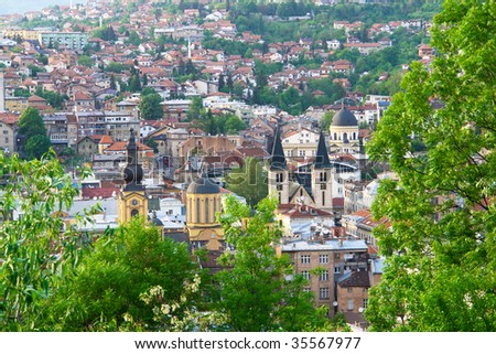 Sarajevo, Bosnia and Herzegovina - Landscape view - stock photo