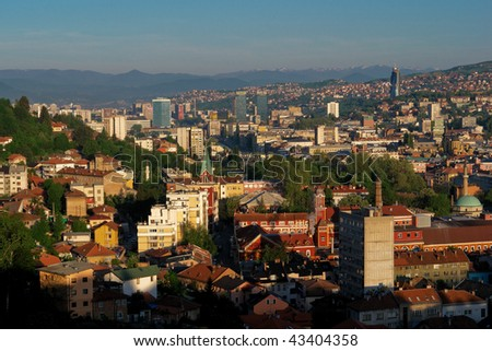 Sarajevo, the capital city of Bosnia and Herzegovina, landscape view - stock photo