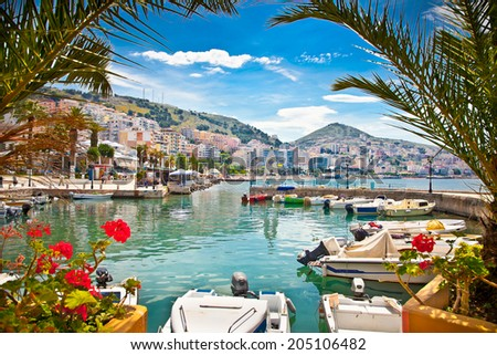 Saranda's city port  at ionian sea. Albania. - stock photo