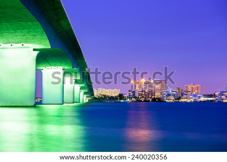 Sarasota, Florida, USA downtown city skyline. - stock photo