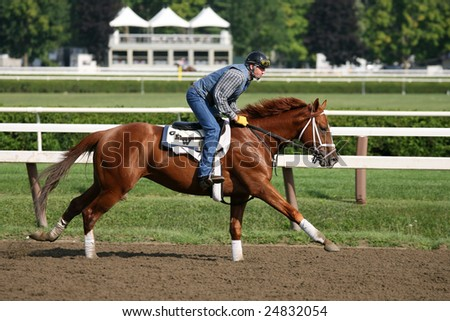 SARATOGA SPRINGS - AUGUST 12: An unidentified Rider Works a horse for Trainer George Weaver on the Saratoga Main Track on August 12, 2005 in Saratoga Springs, NY.