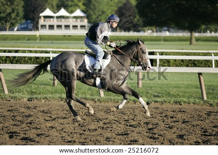 SARATOGA SPRINGS - August 12: An Unknown Rider Gallops a Horse in the Morning on the Main Track on August 12, 2006 in Saratoga Springs, NY. - stock photo