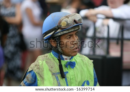 SARATOGA SPRINGS - August 18: Edgar S. Prado Walks to the Scales after the Union Avenue Stakes August 18, 2008 in Saratoga Springs, NY.