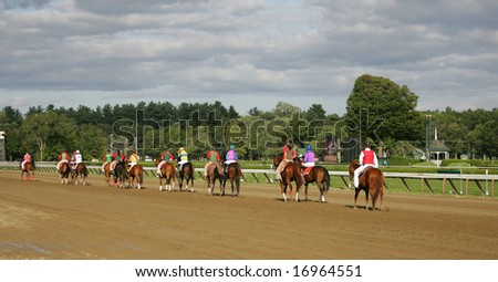 SARATOGA SPRINGS - August 25: The Entire Field in the Post parade before the Saratoga Dew Stakes August 25, 2008 in Saratoga Springs, NY. - stock photo