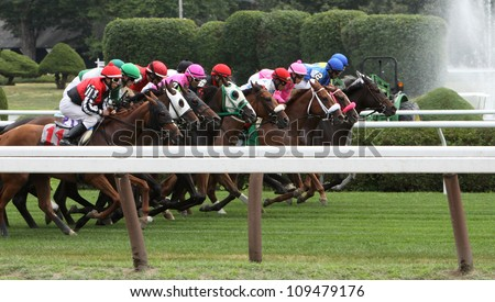 SARATOGA SPRINGS - JUL 20: A crowded field races on the turf in a maiden race on Jul 20, 2012 at Saratoga Race Course in Saratoga Springs, NY. Winner is Junior Alvarado (on rail) and Alwaysinmycircle. - stock photo