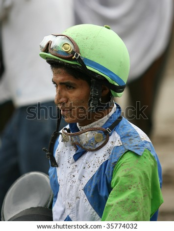 SARATOGA SPRINGS, NY- AUGUST 23: Alan Garcia walks to the scales after the 3rd race at Saratoga Race Track, August 23, 2009 in Saratoga Springs, NY.