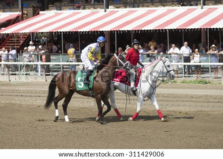 SARATOGA SPRINGS, NY - August 29, 2015: #5 Aztec Sense ridden by Gary Stevens before the 2nd race on Travers Day at Historic Saratoga Race Course on August 29, 2015 Saratoga Springs, New York - stock photo