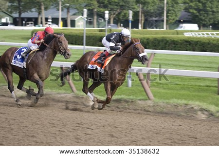 "SARATOGA SPRINGS, NY- AUGUST 8: J Velazquez aboard ""Commentator""  leads ""Bullsbay"" at the top of the stretch in the 82nd Whitney Stakes at Saratoga Race Track, August 8, 2009 in Saratoga Springs, NY."