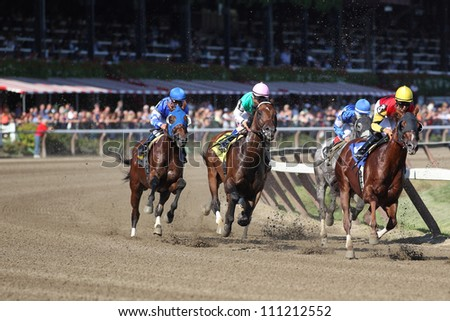 SARATOGA SPRINGS, NY - AUGUST 23: Number 3 Golden Gulch with Jose Lezcano on board leads the seventh race in the clubhouse turn on August 23, 2012 Saratoga Springs, New York - stock photo