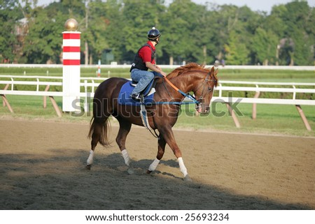 SARATOGA SPRINGS - September 2: An Unknown Rider Works a Horse in the Morning on the Saratoga Main Track on September 2, 2005 in Saratoga Springs, NY. - stock photo