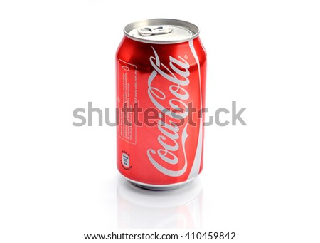 SARAWAK,MALAYSIA- April 24th, 2016: Coca cola can on white background. Coca-Cola manufactured by The Coca Cola Company, one of the world's popular carbonated drink.