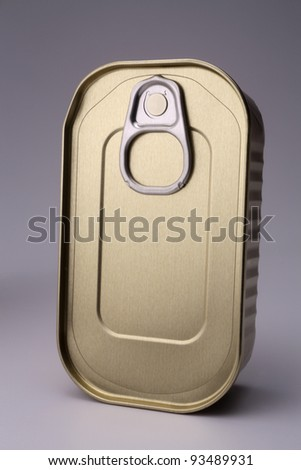 sardine can on the plain background - stock photo