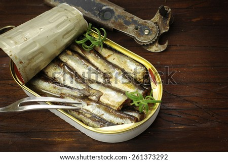 Sardines, sprats canned in a tin - stock photo