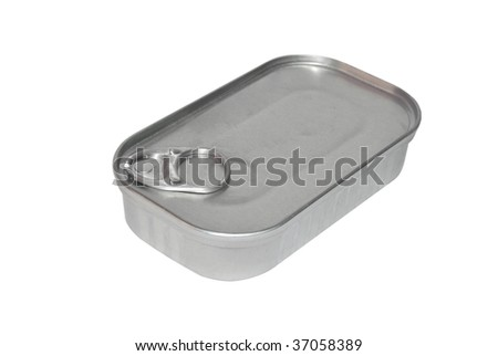 Sardines tin can isolated on white. Food and canning industry