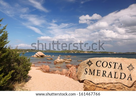 Sardinia coast with famous part of Costa Smeralda with amazing beaches in Italy - stock photo