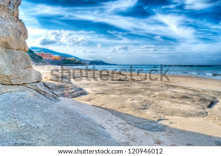 Sardinia foreshore in high dynamic range - stock photo