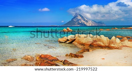 Sardinia holidays, azure sea , island Tavolara, Italy - stock photo