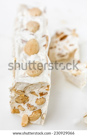 Sardinian torrone nougat with almonds - stock photo