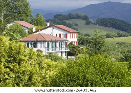 Sare, France in Basque Country on Spanish-French border, is a hilltop 17th century village surrounded by farm fields and mount Rhune in the Labourd province.  - stock photo