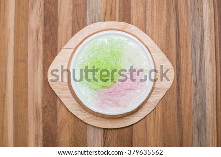 sarim, sweet-noodles in coconut milk syrup (thailand dessert) - stock photo
