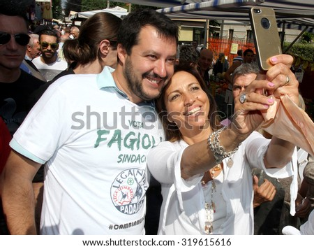 """SARONNO, ITALY - JUNE 3, 2015: Matteo Salvini, the leader of the politician party """"Lega Nord"""", during the major of Saronno's campaign - stock photo"""
