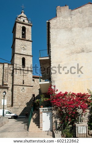 SARTENE, CORSICA, FRANCE, SEPTEMBER 03, 2016: Church Tower With Modern Clock