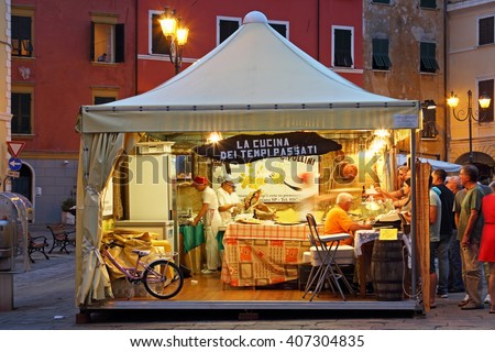SARZANA ITALY - AUGUST 10 2015 View inside the open tent on the & Sarzana Italy August 10 2015 View Stock Photo 407304835 - Shutterstock