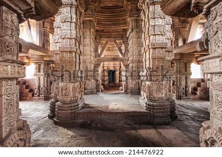 Sas Bahu Temple in Gwalior city, India - stock photo