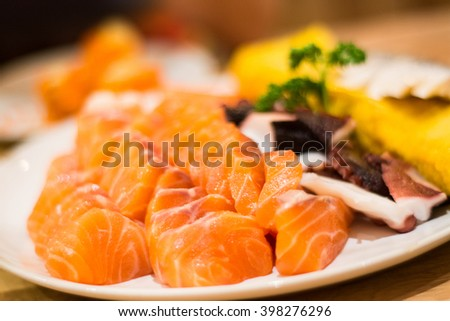 sashimi set, Japanese food. close up concept. selective focus.