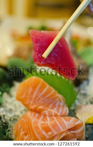 Sashimi set of salmon, tuna, Japanese style food