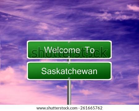 Saskatchewan welcome Canada province vacation landscape sign travel. - stock photo
