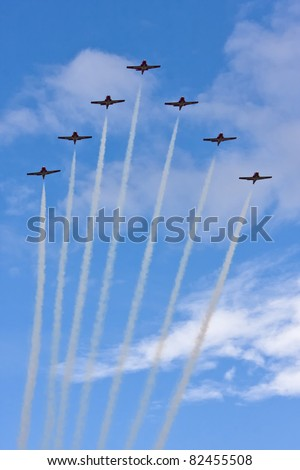 SASKATOON, CANADA - AUG 7:  The Canadian Snowbirds aerobatic team performs at the annual International Festival of Heroes airshow in Saskatoon, Saskatchewan, Canada on August 7, 2011.