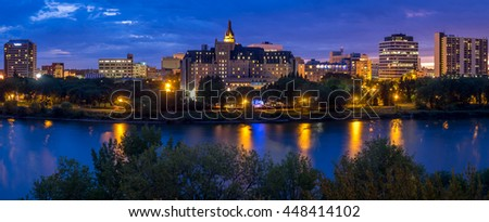SASKATOON, CANADA - JULY 2: Saskatoon skyline along the Saskatchewan River on July 2, 2016 in Saskatoon, Saskatchewan, Canada. Saskatoon is the largest city in Saskatchewan.
