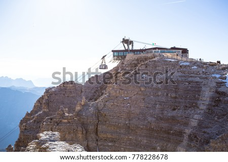 Sass Pordoi Plateaushaped Massif Dolostone Mountain Stock Photo ...