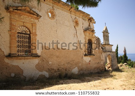 Sassia Monastery ruins, Kefalonia Greece - stock photo