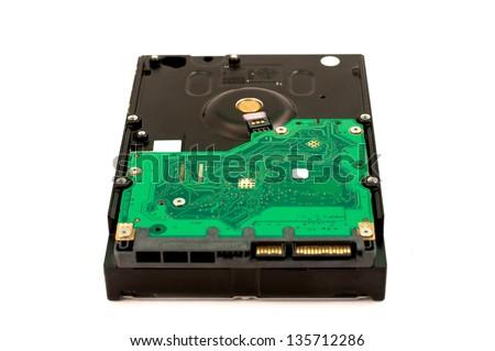 sata hard disk drive on white background - stock photo