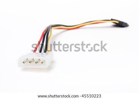 SATA HDD Power cable adapter isolated against white background. - stock photo