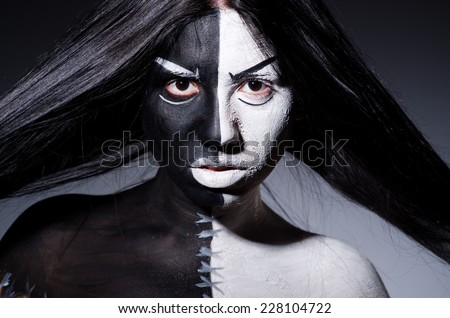 Satan halloween concept with scary woman
