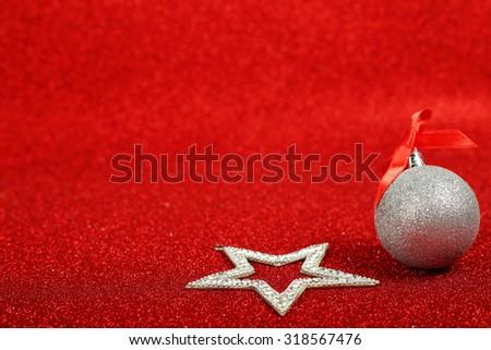 Satanic christmas card with pentagram on glitter background - stock photo