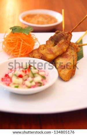 Satay chicken. - stock photo