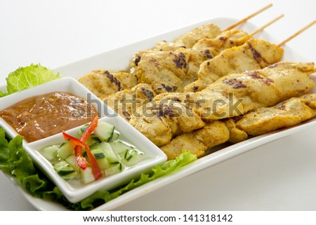 Satay Chicken - stock photo