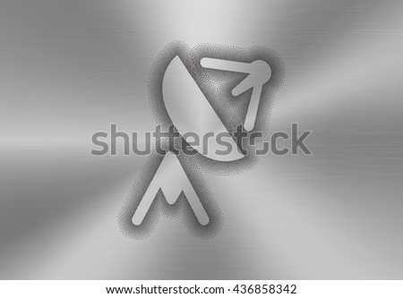 Satellite antenna icon made of stipples like sprayed paint on a brushed metal background. Satellite, telecommunication, broadcast and television abstract concept. - stock photo