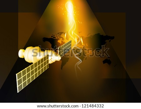 satellite  at the Earth orbit on abstract technology background - stock photo