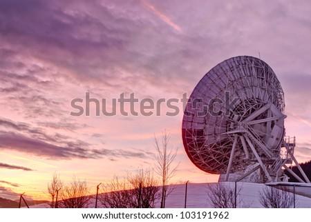 Satellite broadcasting dish in Aflenz,Austria. - stock photo