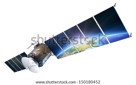 Satellite communications with earth reflecting in solar panels isolated on white ( Elements of this 3d  image furnished by NASA) - stock photo